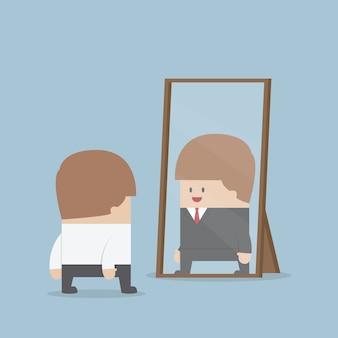 Empresário ver seu futuro de sucesso no espelho