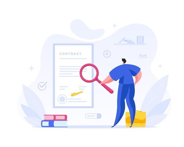 Empresário verifica os termos do conceito de contrato assinado. o personagem de gerenciamento masculino examina o texto e o selo do acordo legal sob uma lupa. verificação de documentação