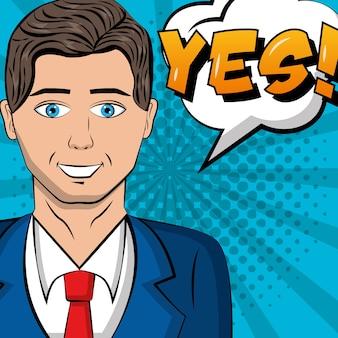 Empresário vestindo terno gravata discurso bolha pop art quadrinhos
