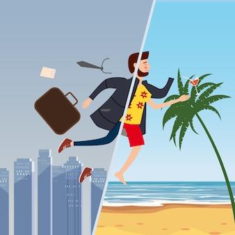 Empresário viaja do inverno para o verão, de uma cidade cinza de inverno para um resort tropical