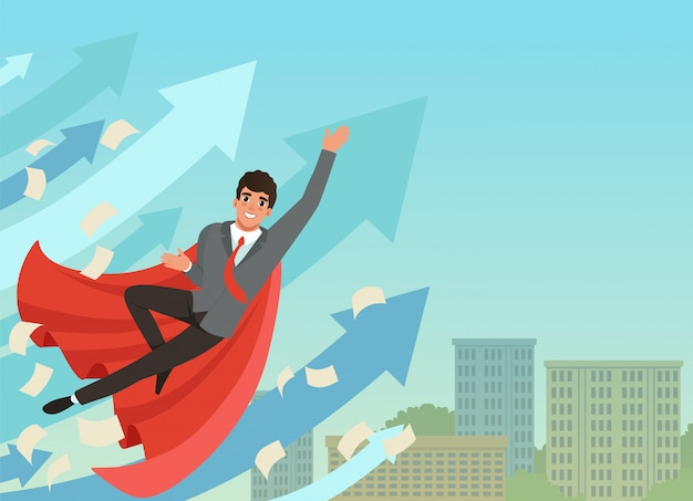 Empresário voando com crescente setas de estatísticas. bem sucedido jovem trabalhador em traje formal e capa de super-herói vermelho. céu azul e prédio de escritórios em fundo.