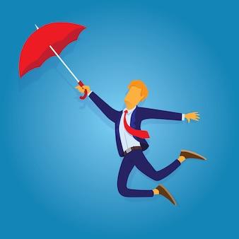 Empresário voando com guarda-chuva