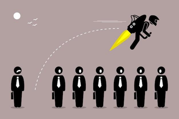 Empresário voando com jetpack. conceito de avanço, desenvolvimento, impulso e melhoria na carreira.