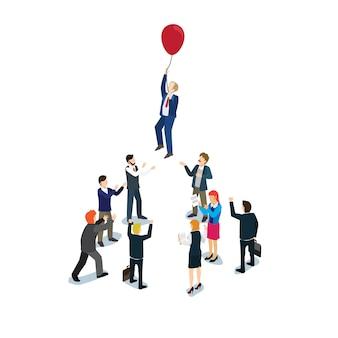 Empresário voando com um balão