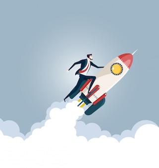 Empresário voando em um foguete