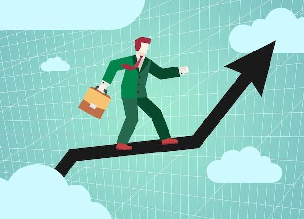 Empresário voando gráfico seta preta no céu financeiro subordinados sucesso e desenvolvimento de negócios