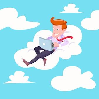 Empresário voando na nuvem
