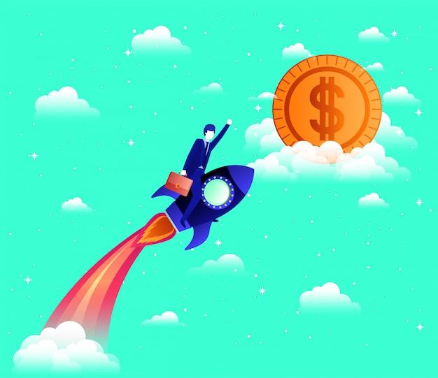 Empresário voando no foguete arranque