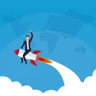 Empresário voando no mundo de foguetes
