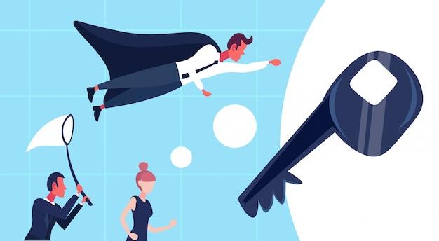 Empresário voando para chave de sucesso