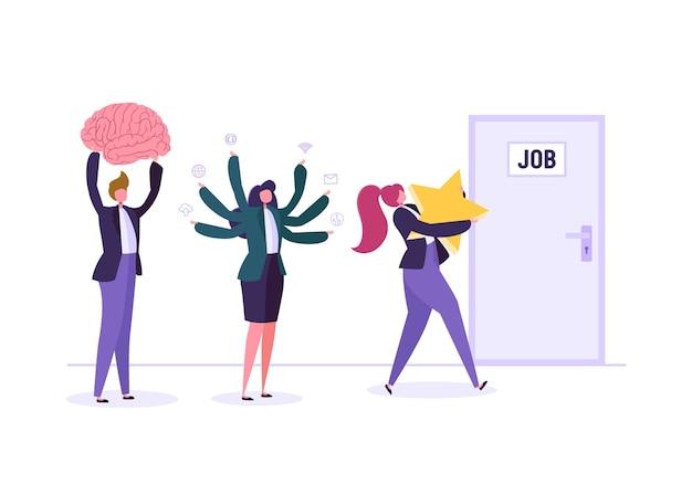 Empresários à espera de entrevista de emprego na frente da porta. empresário e empresária em busca de novo emprego.