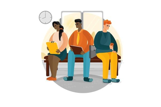 Empresários à espera de entrevista de emprego.