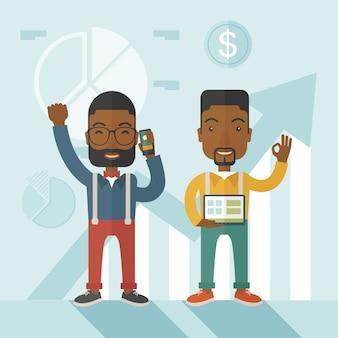 Empresários africanos com os braços erguidos.