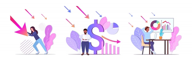 Empresários, analisando gráficos descendentes frustrados sobre seta econômica caindo conceitos de falência crise financeira coleção horizontal