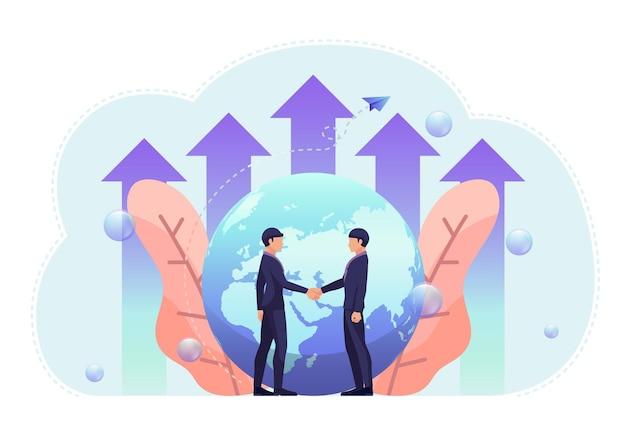 Empresários apertam a mão com o mundo e o gráfico de crescimento no fundo