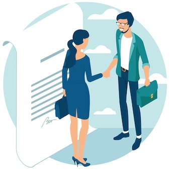 Empresários apertam as mãos após a negociação, chegaram a um acordo e concluíram o negócio com um aperto de mão. conceito isométrico de design plano para web site e design e apresentação de aplicativos.