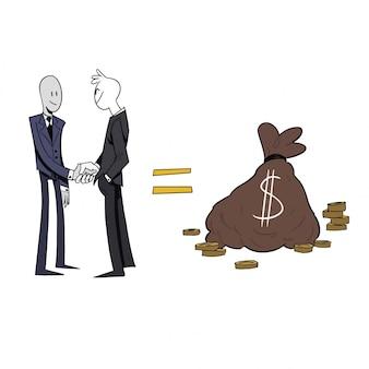 Empresários apertando as mãos e fazendo lucros