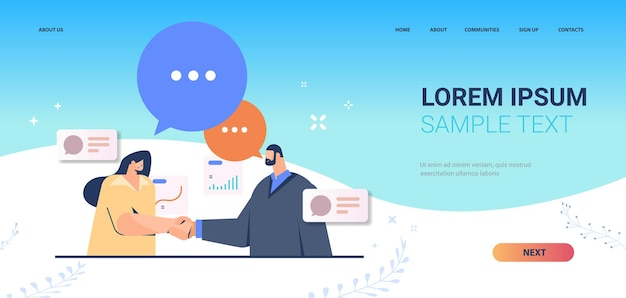 Empresários apertando as mãos juntos página de destino