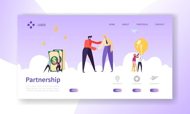 Empresários apertando as mãos, página inicial do aperto de mão do acordo de parceria.