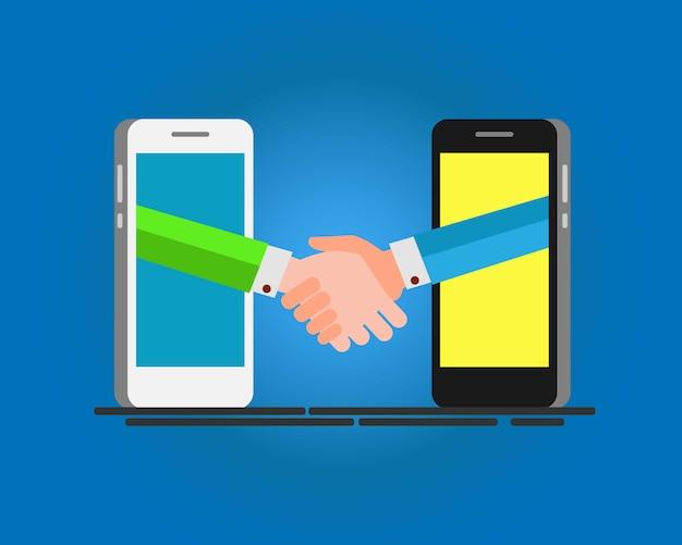 Empresários, apertando as mãos pela tela do telefone inteligente.