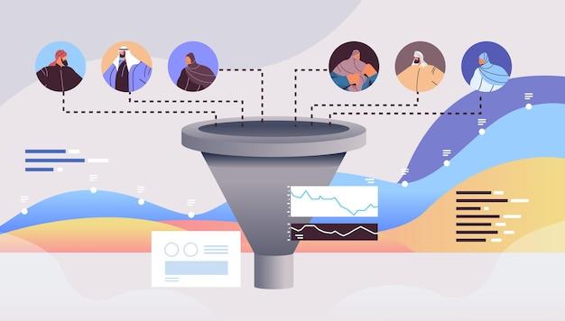 Empresários árabes, clientes ou funcionários, funil de vendas, cone, internet, marketing, conceito, horizontais, retrato, vetorial, illustration