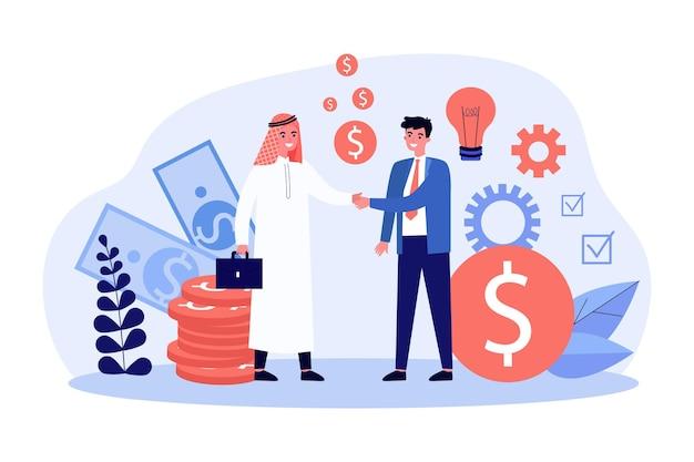 Empresários árabes e caucasianos fecham negócios