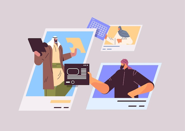 Empresários árabes nas janelas do navegador da web discutindo durante a reunião de conferência virtual ilustração em vetor retrato horizontal conceito de trabalho em equipe