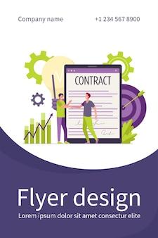 Empresários assinando contrato com modelo de folheto plano de assinatura eletrônica