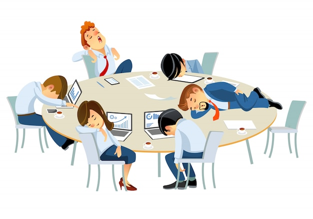 Empresários cansados, oficiais de pessoal corporativo, dormindo à mesa no escritório. ilustração de estilo cartoon isolada no fundo branco Vetor Premium