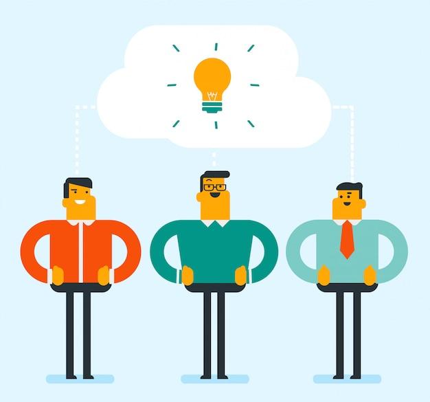 Empresários caucasianos discutindo ideias de negócios.