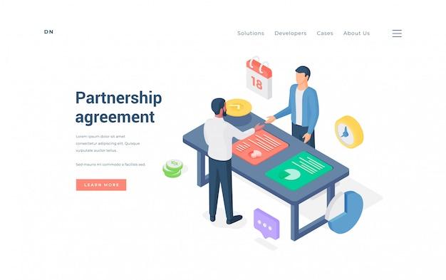 Empresários chegando a acordo durante a reunião. ilustração