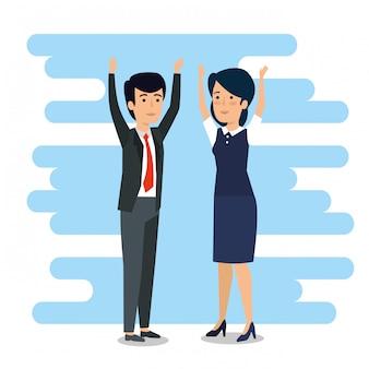 Empresários com as mãos para cima