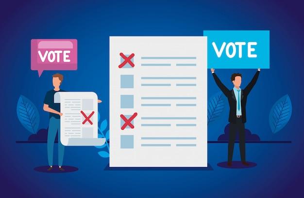 Empresários com caracteres de avatar de formulário de votação