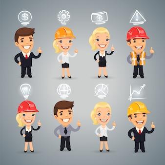 Empresários com conjunto de ícones