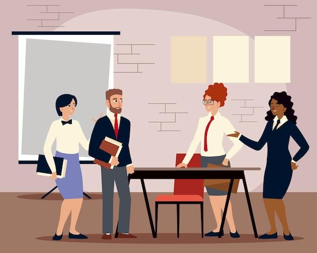 Empresários com documentos e quadro de apresentação trabalhando ilustração