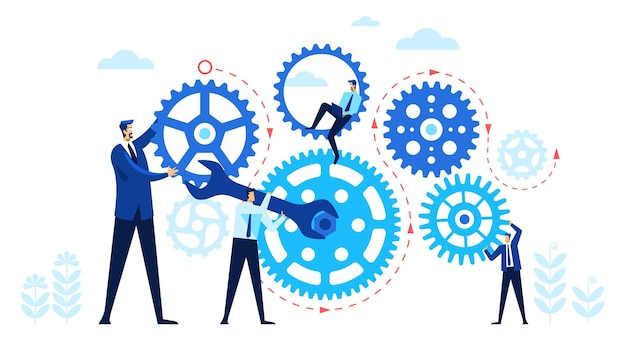 Empresários com engrenagens conceito de equipe trabalhando em conjunto