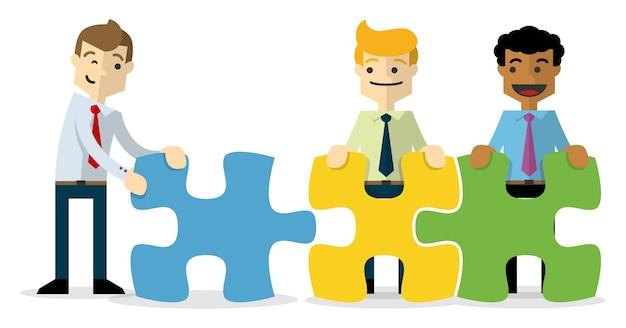 Empresários com enigmas, um trabalho em equipe