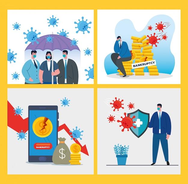 Empresários com máscaras e conjunto de ícones de falência