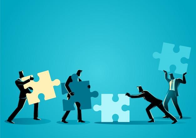 Empresários com peças de puzzle