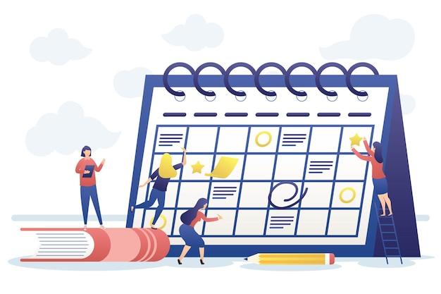 Empresários com planejamento de calendário