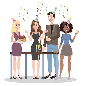 Empresários comemoram aniversário juntos. mulher segurando