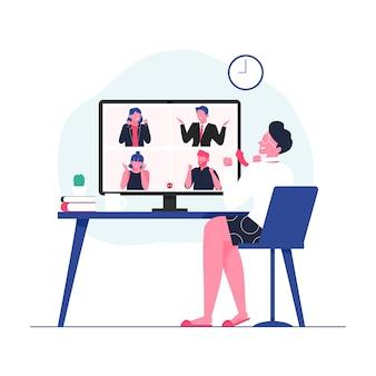 Empresários comemorando vitória da vitória por videoconferência, reunião de grupo por videoconferência, ilustração de casa
