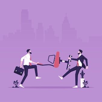 Empresários competidores lutam e puxam cadeira de gestão de escritório promoção de emprego desenvolvimento de carreira