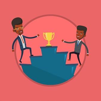 Empresários competindo pelo prêmio de negócios.