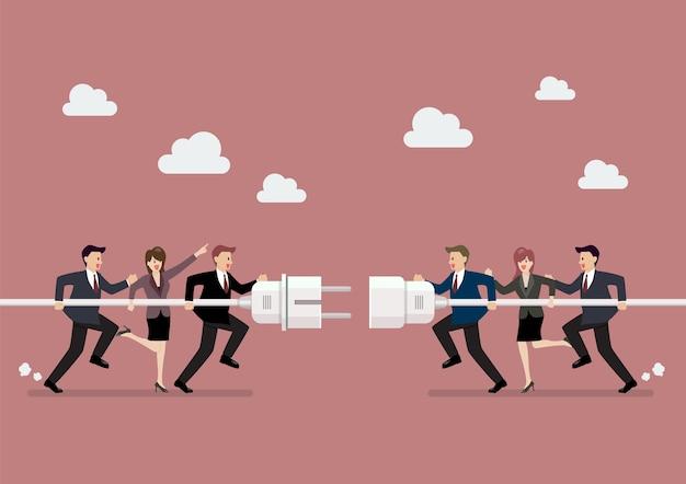 Empresários, conectando o plug de tomada e tomada na mão