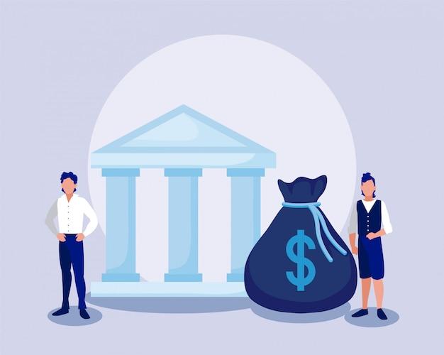 Empresários corporativos com saco de dinheiro e banco