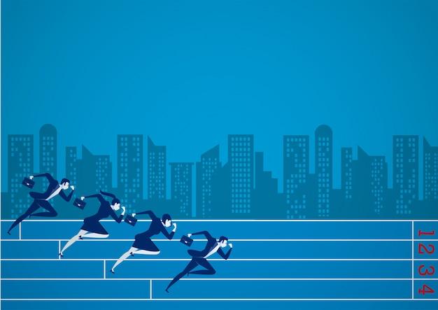 Empresários correndo na competição de negócios para atingi-los.