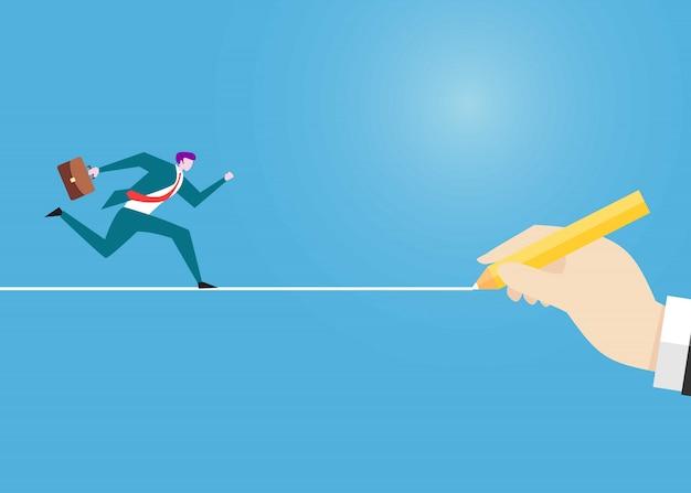 Empresários correndo para a frente à procura de sucesso.