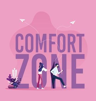 Empresários correndo para fora da zona de conforto