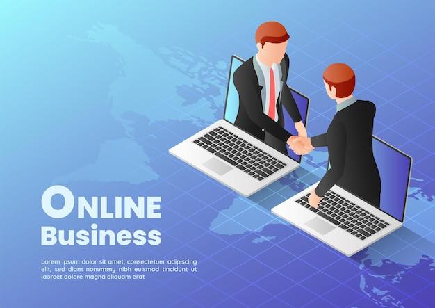 Empresários de banner da web isométrica 3d tendo acordo on-line e apertando as mãos através da tela do laptop. conceito de negócio online.